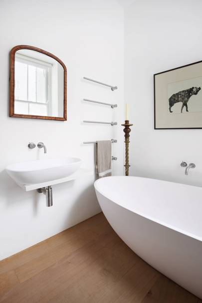 White Bathroom with Freestanding Tub